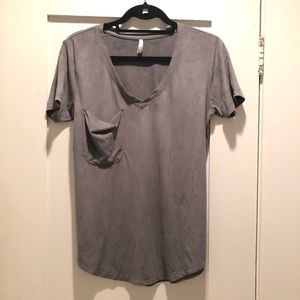 Z Supply Tops - Z Supply Grey Faux Suede Pocket Tee